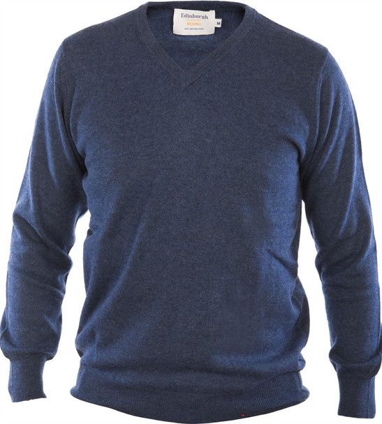 Mens Merino Wool Sweater V-Neck Denim Blue