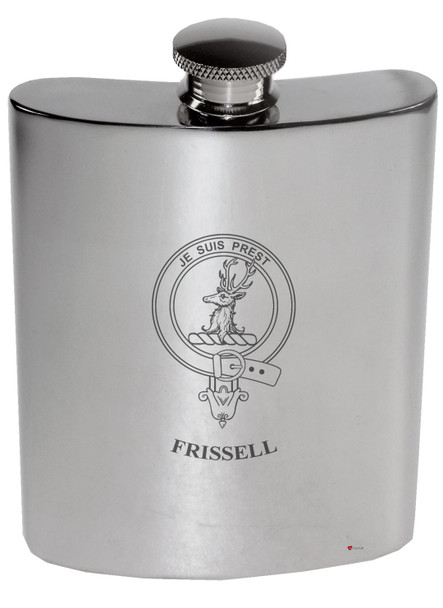 Family Crest 6oz Polished Pewter Kidney Flask Drummond-Laidlaw