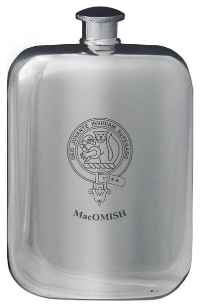 Family Crest Design Pocket Hip Flask 6oz Rounded Polished Pewter MacFall-MacOwl