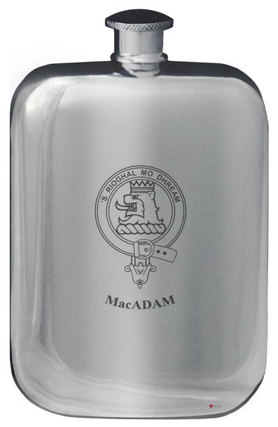 Family Crest Design Pocket Hip Flask 6oz Rounded Polished Pewter Kinnaird-MacFadzean
