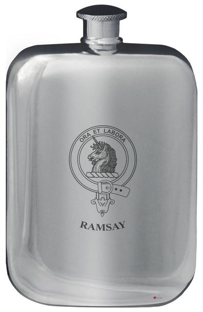 Family Crest Design Pocket Hip Flask 6oz Rounded Polished Pewter MacPatrick-Ramsay