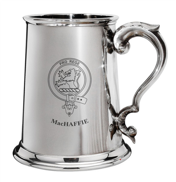 Family Crest Polished Pewter 1 Pint Tankard with Scroll handle MacCuish-MacKeochan