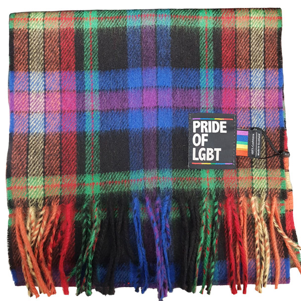 100% Cashmere Made In Scotland Pride of LGBT Tartan Scarf