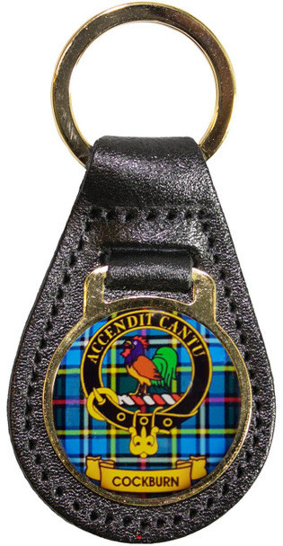 Leather Key Fob Scottish Clan Crest Cockburn Made in Scotland