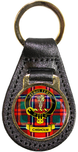Leather Key Fob Scottish Clan Crest Chisholm Made in Scotland