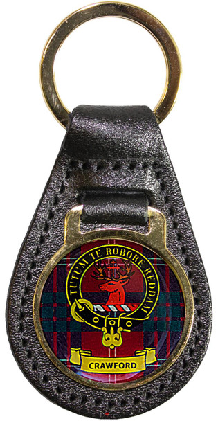Leather Key Fob Scottish Clan Crest Crawford Made in Scotland