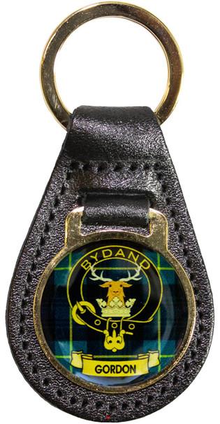 Leather Key Fob Scottish Clan Crest Gordon Made in Scotland