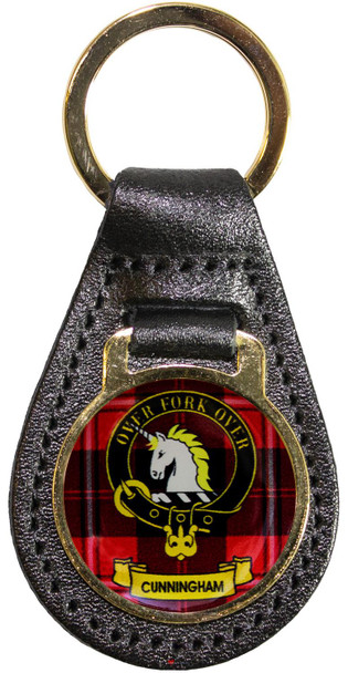 Leather Key Fob Scottish Clan Crest Cunningham Made in Scotland