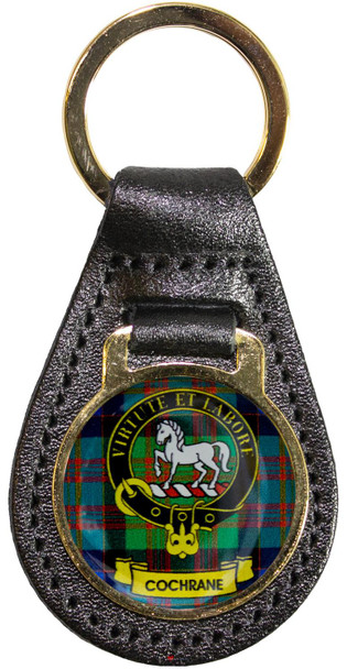 Leather Key Fob Scottish Clan Crest Cochrane Made in Scotland