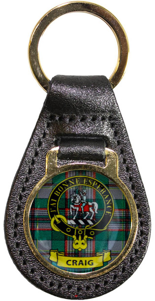 Leather Key Fob Scottish Clan Crest Craig Made in Scotland