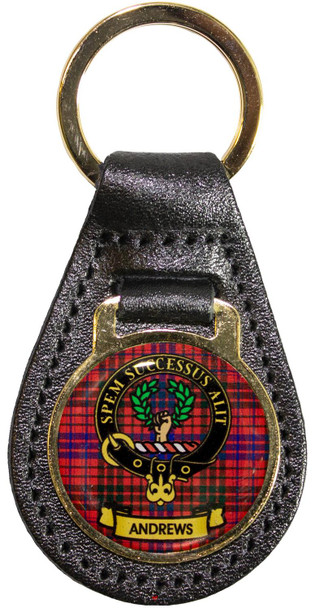 Leather Key Fob Scottish Clan Crest Andrews Made in Scotland