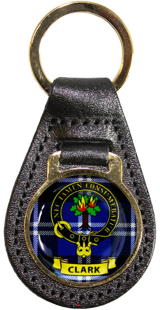 Leather Key Fob Scottish Clan Crest Clark Made in Scotland