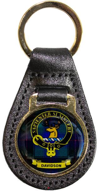 Leather Key Fob Scottish Clan Crest Davidson Made in Scotland
