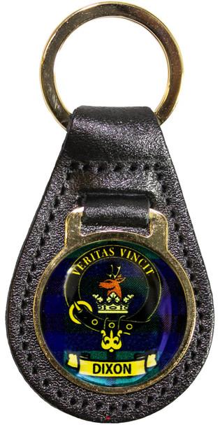 Leather Key Fob Scottish Clan Crest Dixon Made in Scotland