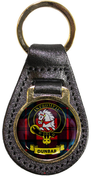 Leather Key Fob Scottish Clan Crest Dunbar Made in Scotland