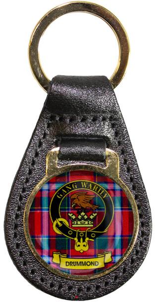 Leather Key Fob Scottish Clan Crest Drummond Made in Scotland