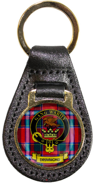 Leather Key Fob Scottish Clan Crest Drummond Made in Scotland