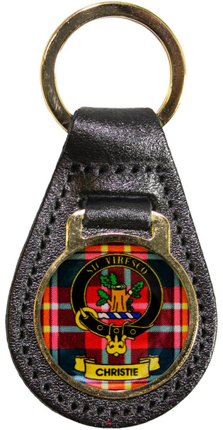 Leather Key Fob Scottish Clan Crest Christie Made in Scotland