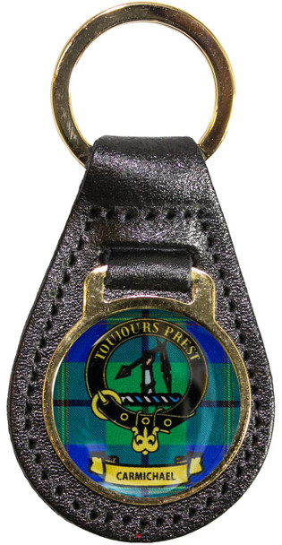 Leather Key Fob Scottish Clan Crest Carmichael Made in Scotland