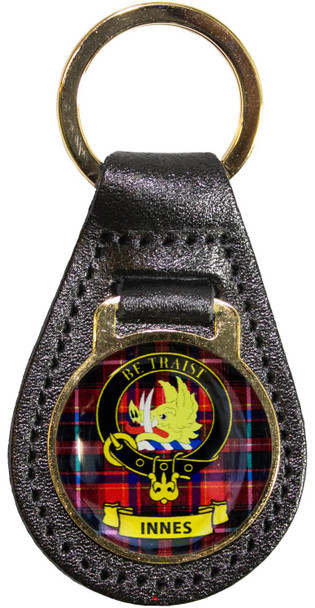 Leather Key Fob Scottish Clan Crest Innes Made in Scotland