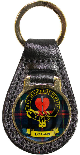 Leather Key Fob Scottish Clan Crest Logan Made in Scotland