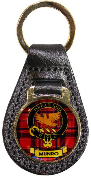 Leather Key Fob Scottish Clan Crest Munro Made in Scotland