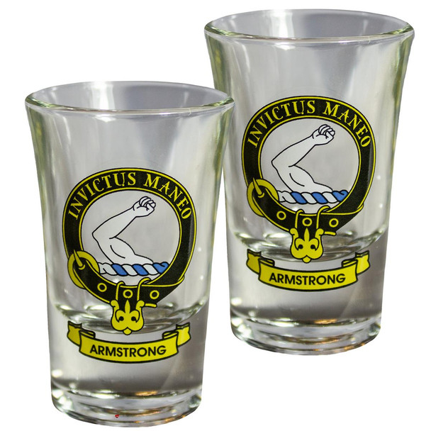 Armstrong Scottish Clan Crest Tequila Slammer Shot Glass Set of 2 Scottish Made
