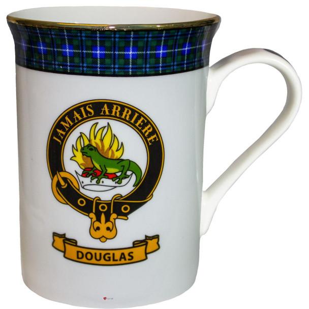 Bone China Coffee Tea Mug Douglas Clan Crest Gold Rim Scottish Made