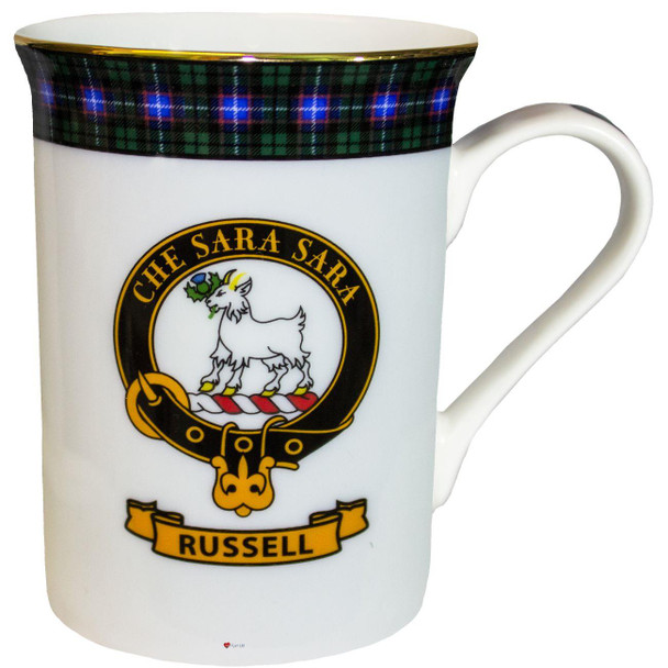 Bone China Coffee Tea Mug Russell Clan Crest Gold Rim Scottish Made