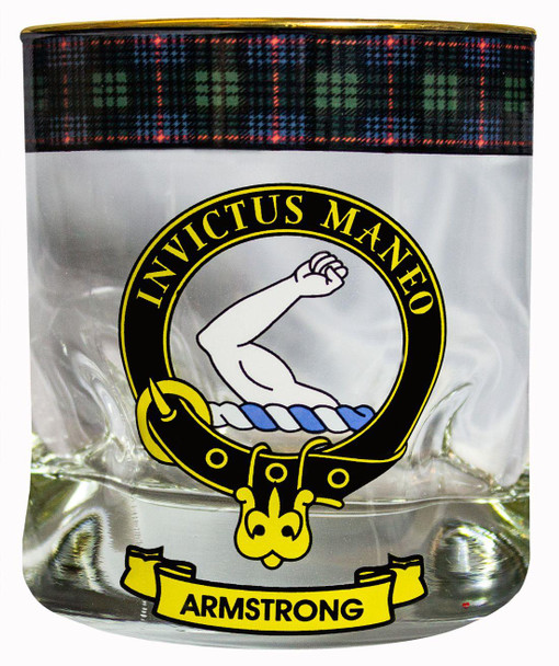 Armstrong Clan Crested Silver Rim Tartan Edging Heavy based Whisky Glass