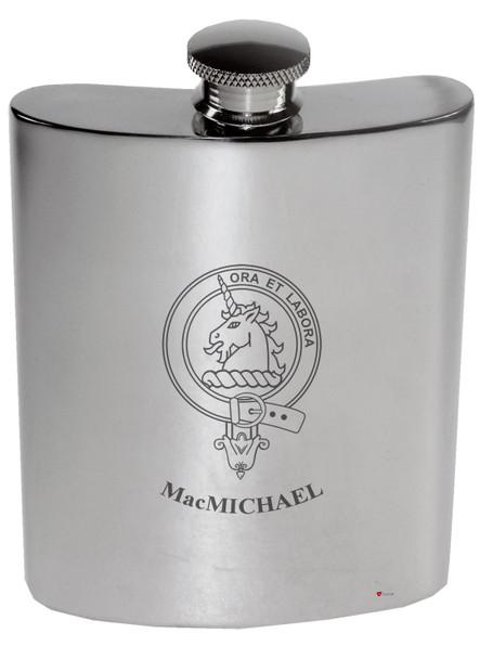 Family Crest 6oz Polished Pewter Kidney Flask MacGillivour-MacRa