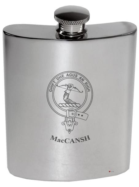 Family Crest 6oz Polished Pewter Kidney Flask Laing-MacGillivantic