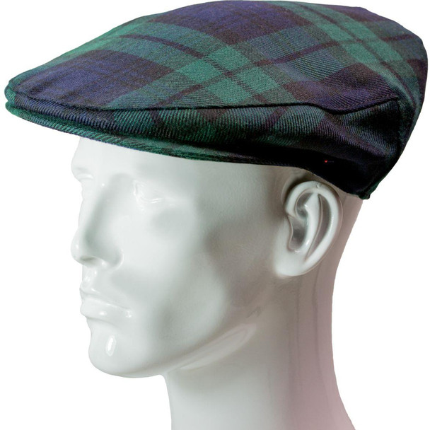 Flat Cap Mens Black Watch Tartan