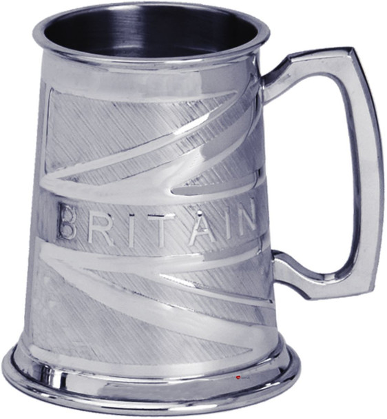 Pewter Tankard Handmade Britain Union Jack Flag Engraved Traditional Shape Great Gift