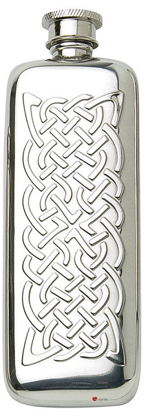 Pewter Pocket Flask Celtic Rope Design Engravable Personal Gift Screw Top Great Gift
