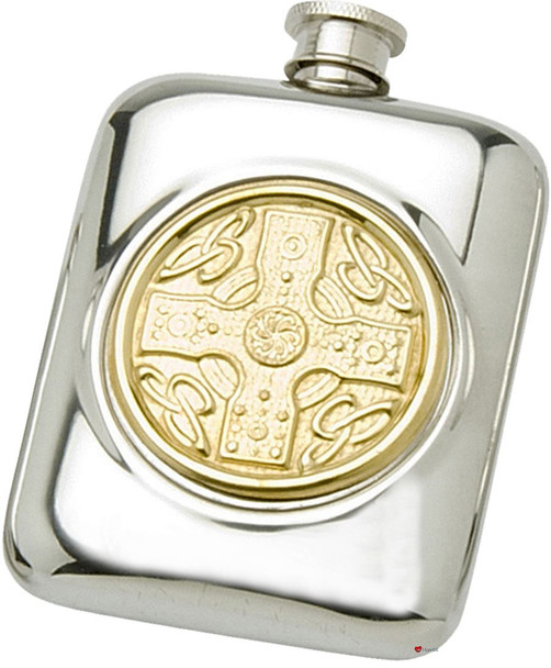 Pewter Pocket Flask Brass Celtic Disc Design Engravable Personal Gift Screw Top Great Gift