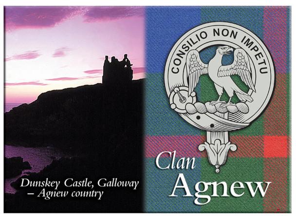 Agnew Scottish Clan Metallic Picture Fridge Magnet, Made in Scotland