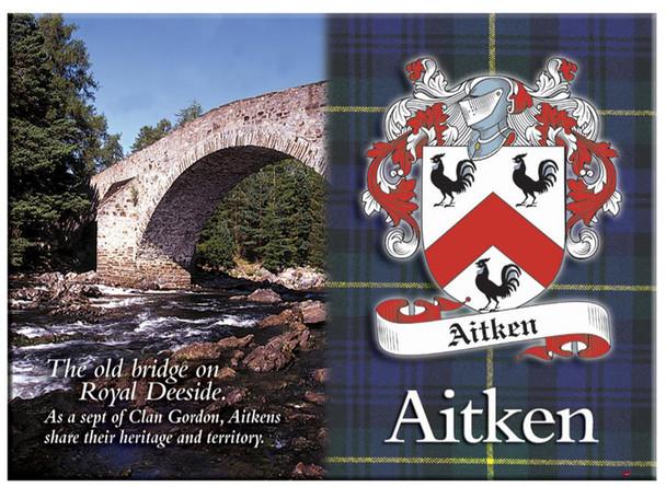 Aitken Scottish Clan Metallic Picture Fridge Magnet, Made in Scotland