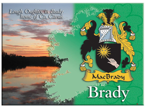 Brady Irish Clan Metallic Picture Fridge Magnet, Gift From Ireland