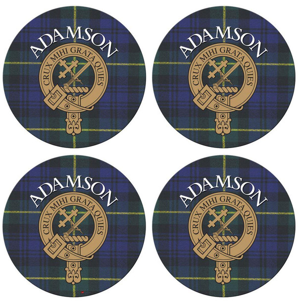 Adamson Scottish Clan Family Name Round Cork Coasters Set of 4
