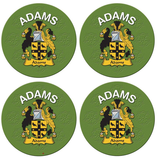 Adams English Ancestry Family Name Round Cork Coasters Set of 4