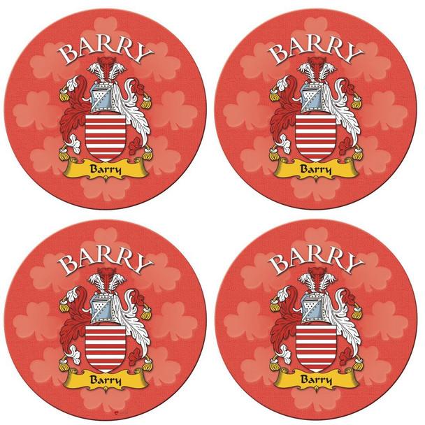 Barry Irish Clan Name Round Cork Coasters Set of 4 Irish Gift
