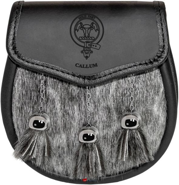 Callum Semi Dress Sporran Fur Plain Leather Flap Scottish Clan Crest