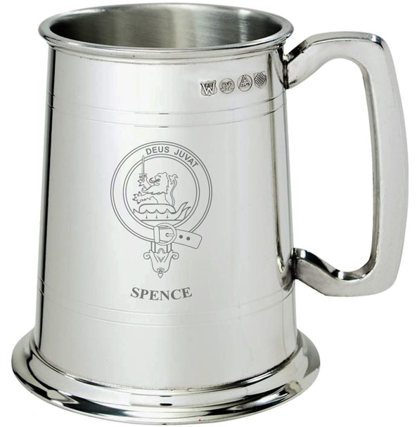 Spence Clan Crest Tankard 1 Pint Pewter