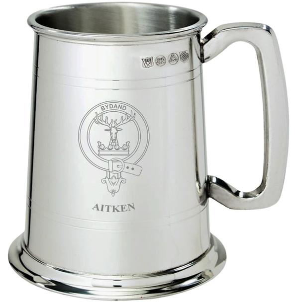 Aitken Clan Crest Tankard 1 Pint Pewter