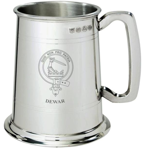 Dewar Clan Crest Tankard 1 Pint Pewter