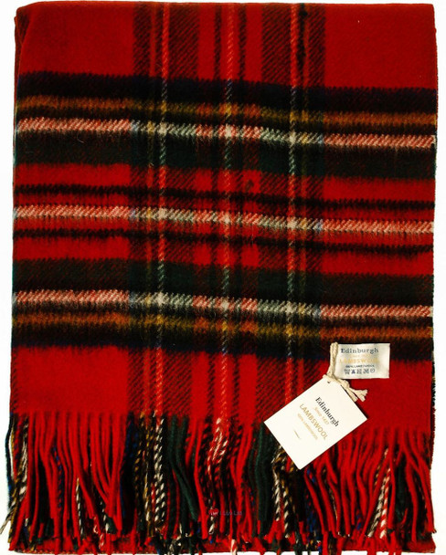 Deluxe Pure Soft Lambswool Blanket-Throw in Royal Stewart Tartan 78x 63in