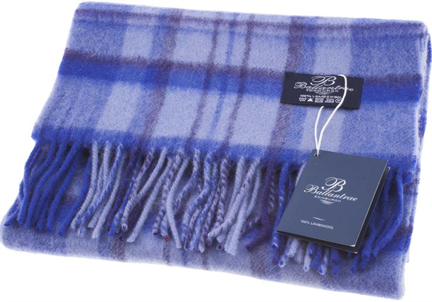 100% Lambswool Scarf Sky Blue Check Scottish Gift Winter Scotland