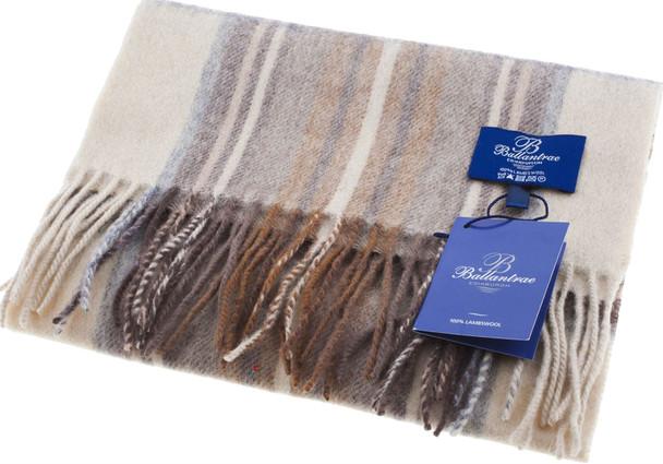 100% Lambswool Scarf Stewart Natural Dress Scottish Gift Winter Scotland