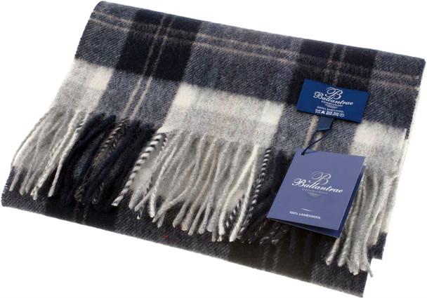100% Lambswool Scarf Bannockbane Silver  Scottish Gift Winter Scotland